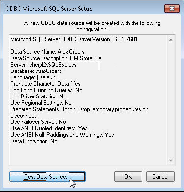 how to make odbc connection in windows 7