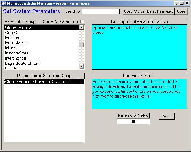 GlobalWebCart System Parameters [Legacy KB]