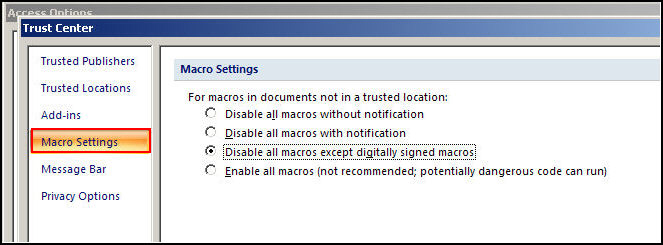 the default macro setting in access 2007 is either the second or third option one of the possible choices for a products attribute for example