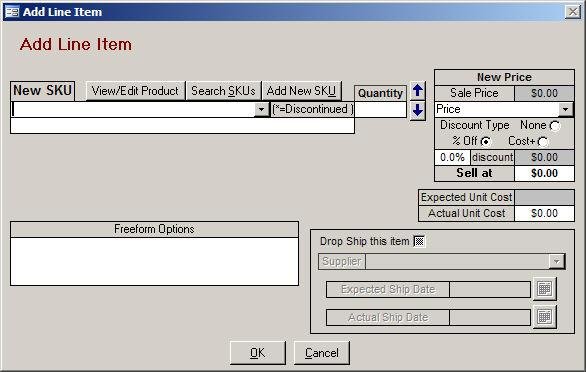 Add Line Item Screen