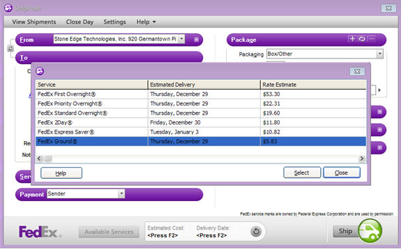 Printing Integrated Shiprush for FedEx or UPS Shipping Labels