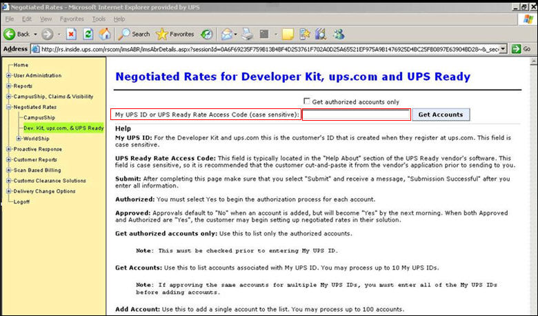 the ups account executive should enter the code that was generated by seom in step 4 of the previous section into the my ups id or ready access code field